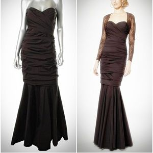 TERI JON RICKIE FREEMAN BROWN STRAPLESS GOWN SZ 10